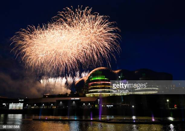 A huge water fountain art installation music and firework displays brings the opening ceremony of the Great Exhibition of the North to an end on June...