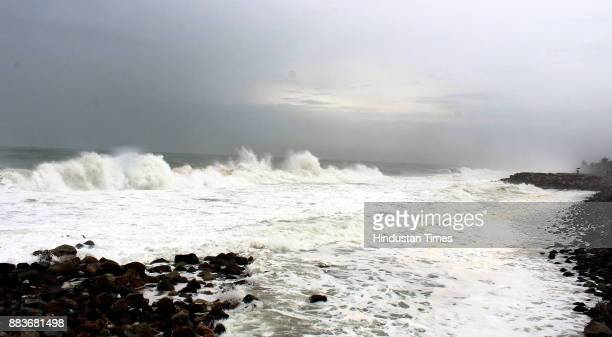 Huge water waves crashing against the rocks on the shore at due to Cyclone Ockhi on December 1 2017 in Thiruvananthapuram India 7 people have died in...