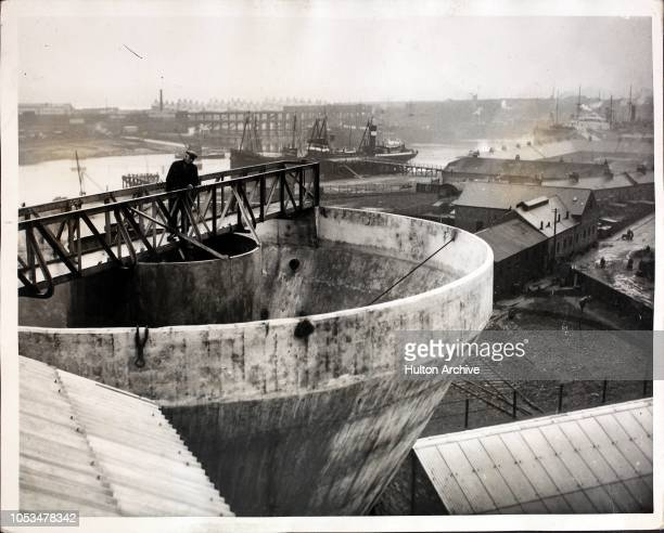 A huge watertank which holds 480 tons of water for the pithead plant at the Cowpen Colliery in Blyth Northumberland 1st December 1933