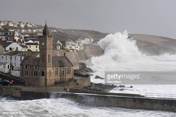 huge waves at porthleven near high tide during storm imogen - cornwall england stock pictures, royalty-free photos & images