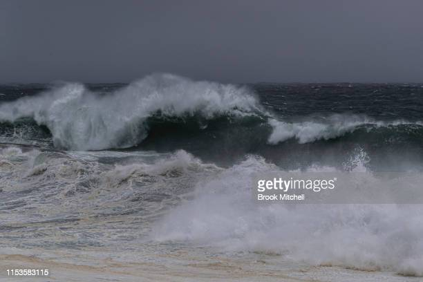 Huge waves break at Clovelly in Sydney's East on June 04 2019 in Sydney Australia The Bureau of Meteorology issued a severe weather warning on Monday...