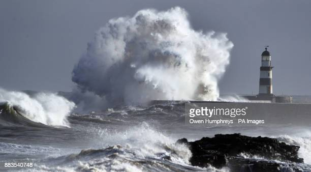 Huge waves on the north east coast at Seaham as Britons woke up to slightly warmer temperatures with forecasters saying the current cold spell is...