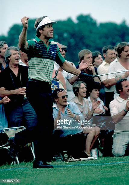 Hugh Baiocchi of South Africa reacts during the State Express Open Golf Championship held at The Belfry Golf Resort near Birmingham circa July 1983...