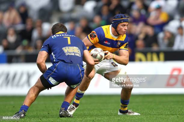 Hugh Blake of Bay of Plenty makes a break during the round eight Mitre 10 cup match between Otago and Bay of Plenty at Forsyth Barr Stadium on...