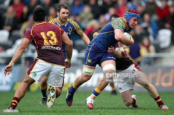 Hugh Blake of Otago on the charge during the round seven ITM Cup match between Otago and Southland at Forsyth Barr Stadium on September 28 2013 in...