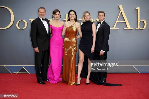 "Hugh Bonneville, Allen Leech, Elizabeth Mcgovern, Michelle Dockery and Laura Carmichael attend the ""Downton Abbey"" World Premiere at Cineworld..."