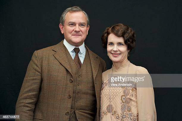 "Hugh Bonneville and Elizabeth McGovern on the ""Downton Abbey"" set at Highclere Castle on February 16, 2015 in Newbury, England."