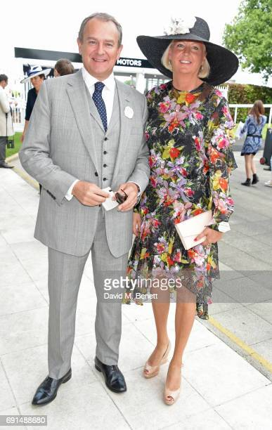 Hugh Bonneville and Lulu Williams attend Ladies Day of the 2017 Investec Derby Festival at The Jockey Club's Epsom Downs Racecourse at Epsom...