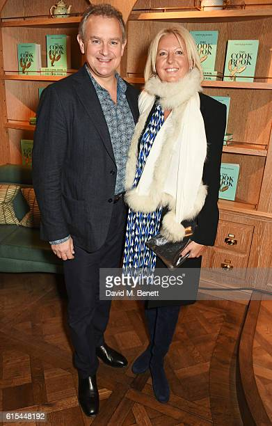 Hugh Bonneville and Lulu Williams attend the launch of 'Fortnum Mason The Cook Book' by Tom Parker Bowles at Fortnum Mason on October 18 2016 in...