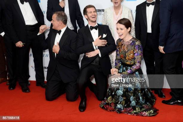 Hugh Bonneville Andrew Garfield and Claire Foy attend the European Premiere of 'Breathe' on the opening night gala of the 61st BFI London Film...
