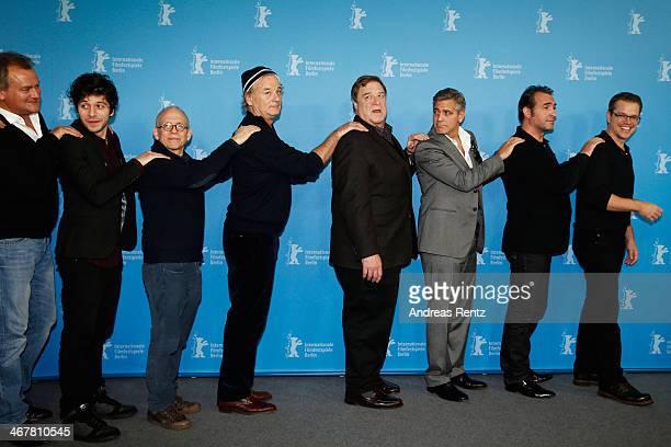Hugh Bonneville Dimitri Leonidas Bill MurrayJohn Goodman George Clooney Jean Dujardin and Matt Damon attend 'The Monuments Men' photocall during 64th...