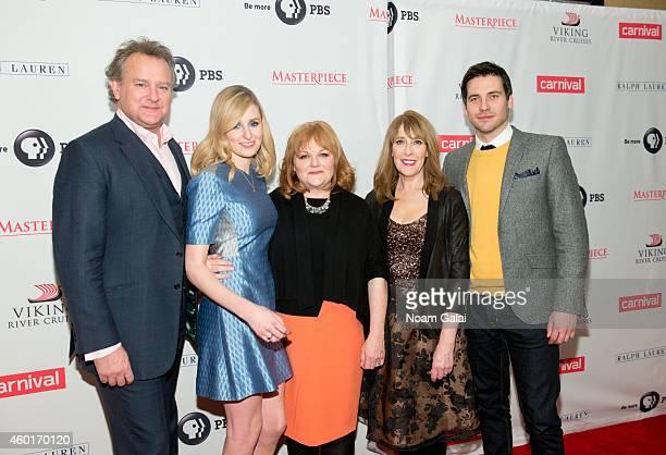 Hugh Bonneville Laura Carmichael Lesley Nicol Phyllis Logan and Robert JamesCollier attend the 'Downton Abbey' season five photo call at Millenium...