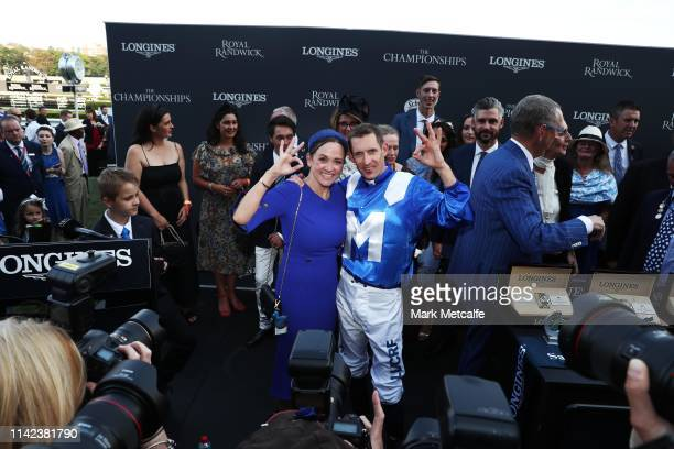 Hugh Bowman and Christine Bowman celebrate during the presentation following Winx's victory in race 7 the Longines Queen Elizabeth Stakes during The...