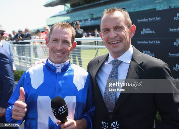 Hugh Bowman and Trainer Chris Waller after Bowman rode Winx during a barrier trial on Apollo Stakes Day at Royal Randwick Racecourse on February 17...