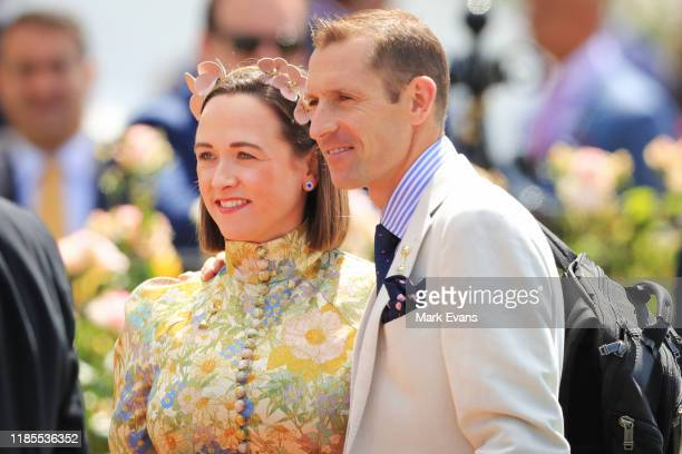 Hugh Bowman and wife Christine arrive in the mounting yard during 2019 Melbourne Cup Day at Flemington Racecourse on November 05 2019 in Melbourne...