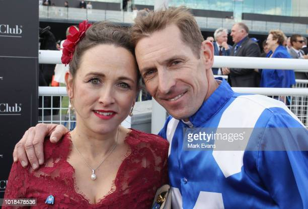 Hugh Bowman hugs wife Christine after winning The Winx Stakes on Winx during Sydney Racing at Royal Randwick Racecourse on August 18, 2018 in Sydney,...