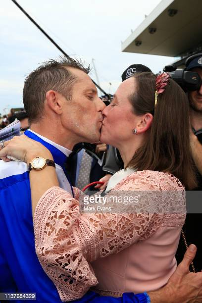 Hugh Bowman kisses wife Christine after winning race 5 The Ranvet Stakes on Winx during Golden Slipper Day at Rosehill Gardens on March 23 2019 in...
