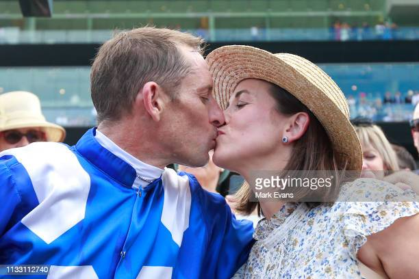 Hugh Bowman kisses wife Christine after winning race 6 The Chipping Norton Stakes on Winx during Sydney Racing at Royal Randwick Racecourse on March...