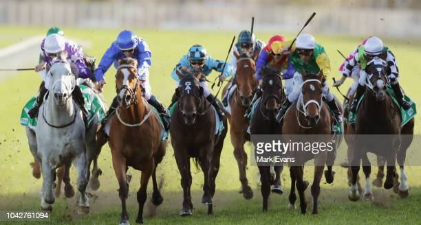 Hugh Bowman on Hartnell wins race 7 The TAB Epsom Handicap during Sydney Racing at Royal Randwick Racecourse on September 29 2018 in Sydney Australia