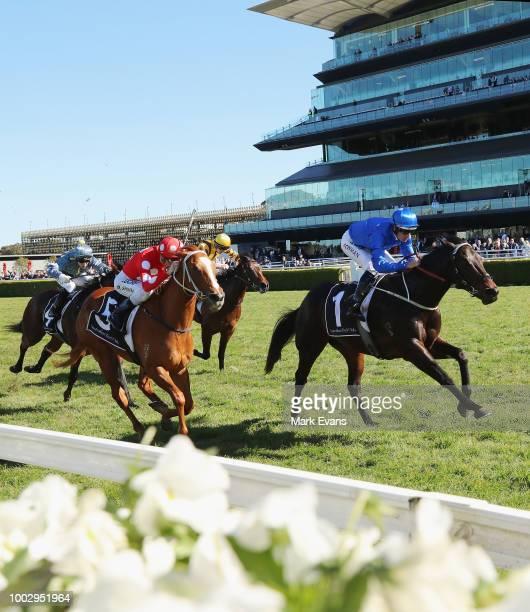 Hugh Bowman on Plague Stone wins race 1 during Sydney Racing at Royal Randwick Racecourse on July 21 2018 in Sydney Australia