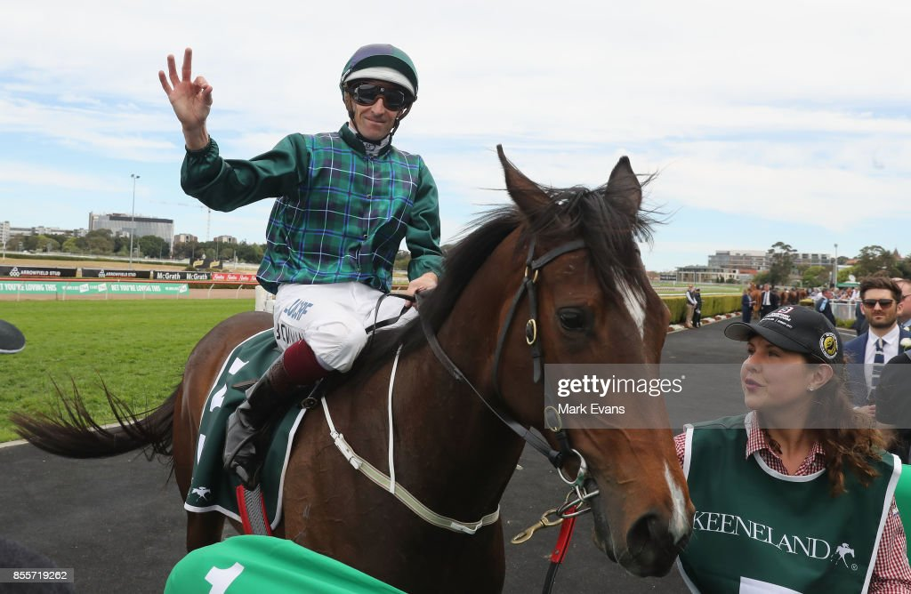 Hugh Bowman on Satin Slipper returns to scale after winning race 2 during Sydney Racing at Royal Randwick Racecourse on September 30, 2017 in Sydney, Australia.