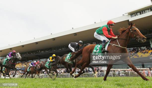 Tim Clark on Shumookh wins race 6 The JHB Syndications Golden Pendant during Sydney Racing at Rosehill Gardens on September 22 2018 in Sydney...
