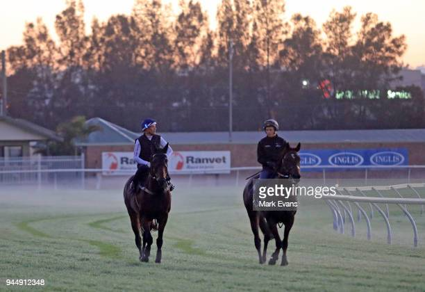 Hugh Bowman on Winx and James McDonald on Unfogotten return from a trackwork session at Rosehill Gardens on April 12 2018 in Sydney Australia