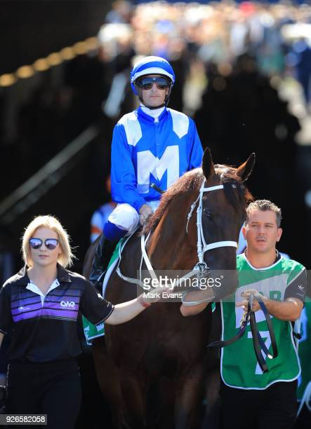 Hugh Bowman on Winx comes out of the tunnel before race 6 the Chipping Norton Stakes during Sydney Racing at Royal Randwick Racecourse on March 3...