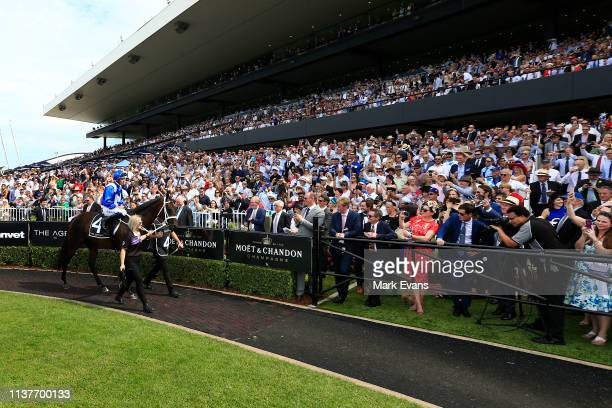 Hugh Bowman on Winx in the mounting yard before race 5 the Agency George Ryder Stakesduring Golden Slipper Day at Rosehill Gardens on March 23 2019...