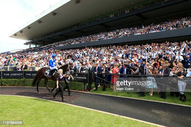 Hugh Bowman on Winx parades in the mounting yard before race 5 The Ranvet Stakes during Golden Slipper Day at Rosehill Gardens on March 23 2019 in...