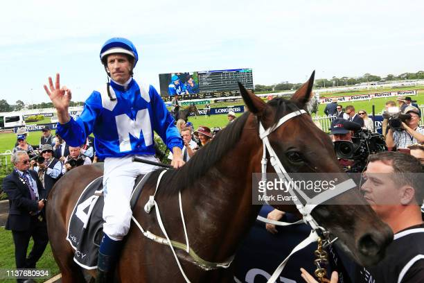 Hugh Bowman on Winx returns to scale after winning race 5 the Agency George Ryder Stakes during Golden Slipper Day at Rosehill Gardens on March 23...
