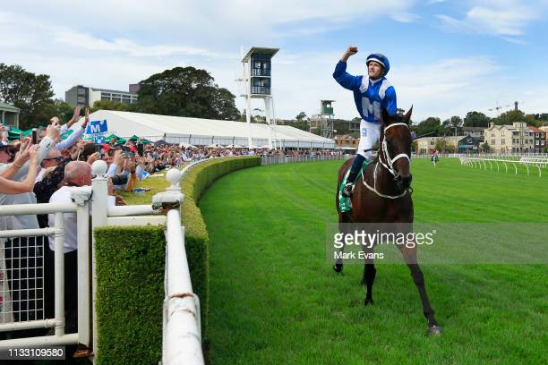 Hugh Bowman on Winx returns to scale after winning race 6 the TAB Chipping Norton Stakes during Sydney Racing at Royal Randwick Racecourse on March...