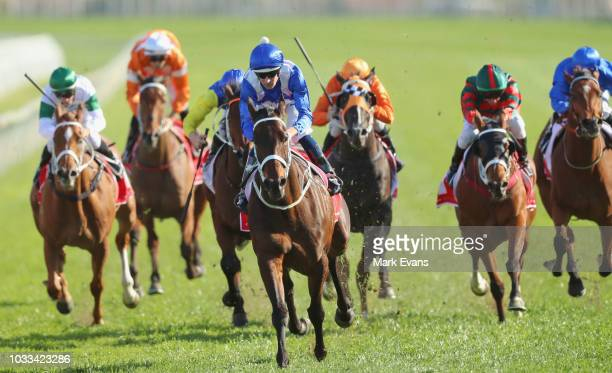 Hugh Bowman on Winx wins race 6 the Colgate Optic White Stakes during Sydney racing at Royal Randwick Racecourse on September 15 2018 in Sydney...