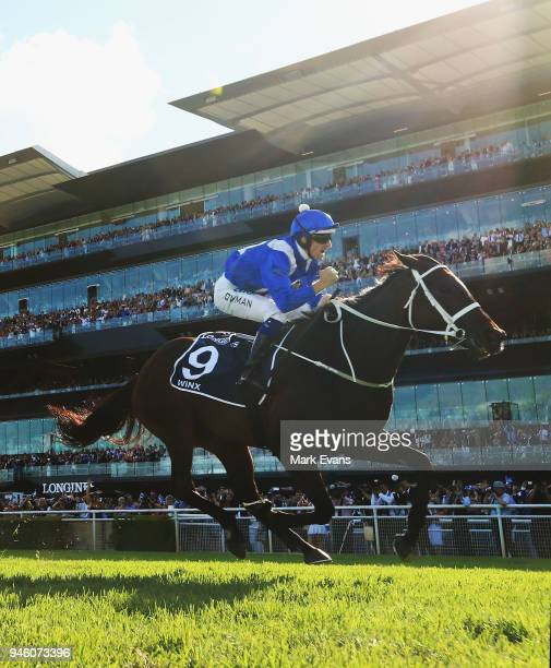 Hugh Bowman on Winx wins the Queen Elizabeth Stakes during day two of The Championships as part of Sydney Racing at Royal Randwick Racecourse on...