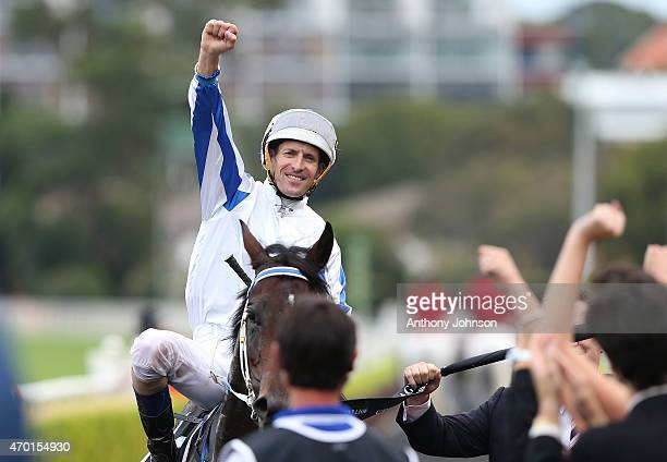 Hugh Bowman returns on Pasadena Girl after winning race 4 The Moet Chandon Champagne Stakes during Sydney Racing at Royal Randwick Racecourse on...
