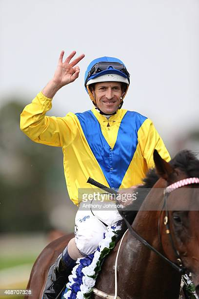 Hugh Bowman returns on Pride Of Dubai after winning race 6 The Group 1 Inglis Sires' during Sydney Racing at Royal Randwick Racecourse on April 6...