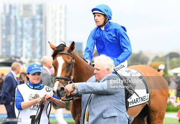 Hugh Bowman returns to scale on Hartnell The James Cummings trained horse ran for the final time in race 8 the Seppelt Mackinnon Stakes during 2019...