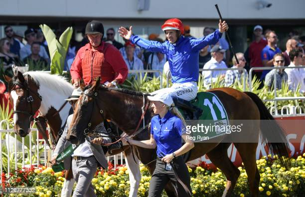Hugh Bowman returns to the mounting yard aboard Alizee after winning the Yulong Futurity Stakes at Caulfield Racecourse on February 23 2019 in...