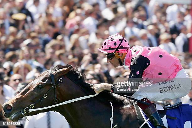 Hugh Bowman rides Flying Artie to win race 5 the Coolmore Stud Stakes on Derby Day at Flemington Racecourse on October 29 2016 in Melbourne Australia