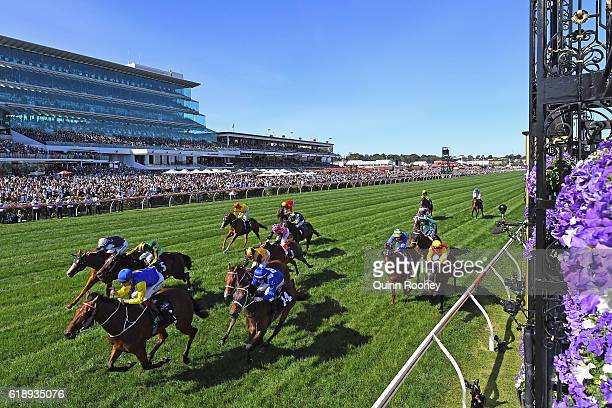 Hugh Bowman rides Le Romain to win race eight the Cantala Stakes on Derby Day at Flemington Racecourse on October 29 2016 in Melbourne Australia