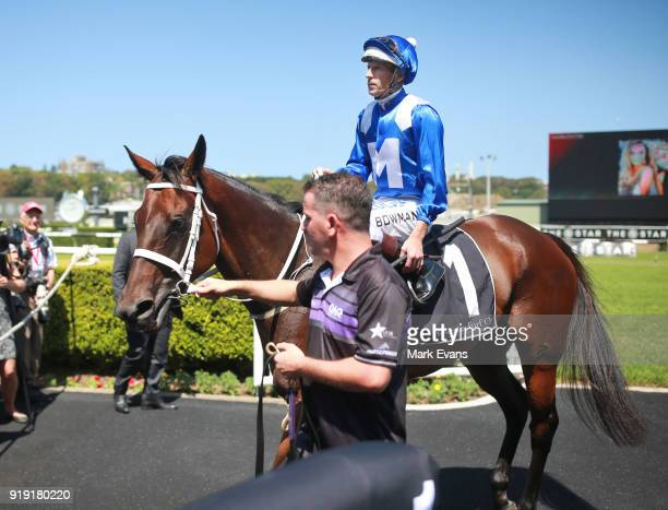 Hugh Bowman rides Winx after a barrier trial on Apollo Stakes Day at Royal Randwick Racecourse on February 17 2018 in Sydney Australia
