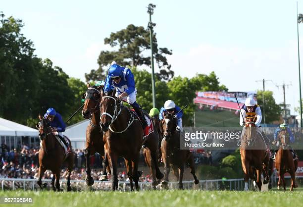 Hugh Bowman rides Winx on his way to victory race nine the Ladbrokes Cox Plate during Cox Plate Day at Moonee Valley Racecourse on October 28 2017 in...