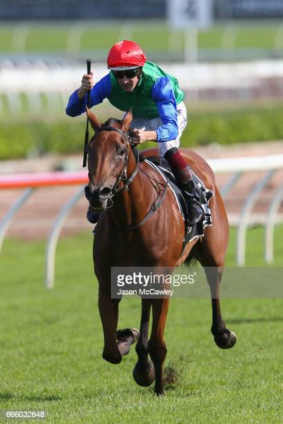 Hugh Bowman riding 'Bonneval' celebrates winning The James Boag's Australian Oaks during The Championships Day 2 at Royal Randwick Racecourse on...