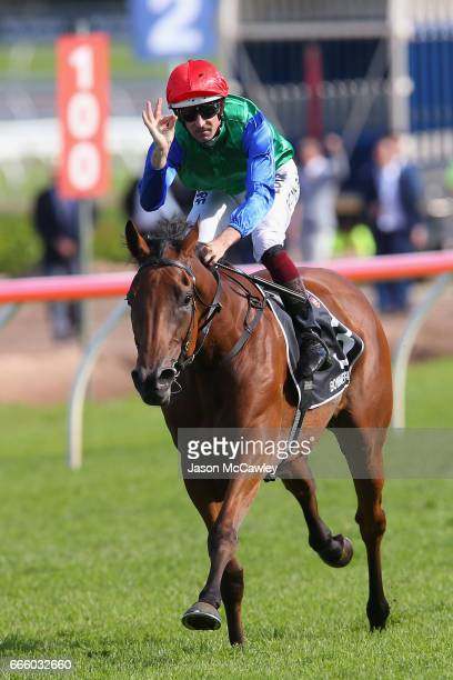 Hugh Bowman riding 'Bonneval' celebrates winning The James Boag's Australian Oaks during The Championships Day 2 at Royal Randwick Racecourse on...