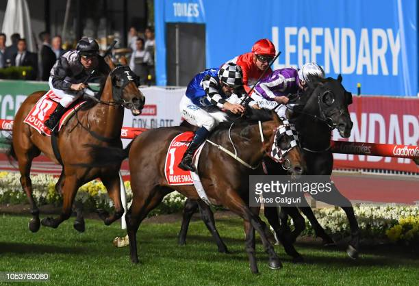 Hugh Bowman riding Brave Smash defeats Oisin Murphy riding Spirit of Valor in Race 7, Ladbrokes Manikato Stakes during Manikato Stakes Night at...