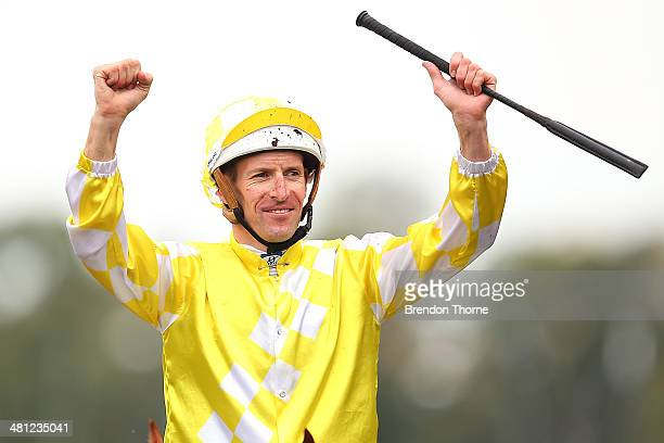Hugh Bowman riding Criterion celebrates after winning Race8 Rosehill Guineas during Guineas Day at Rosehill Gardens on March 29 2014 in Sydney...