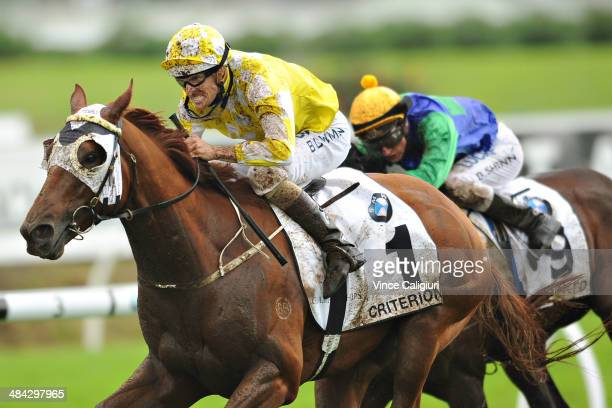 Hugh Bowman riding Criterion wins Race 6 the BMW Australian Derby during day one of The Championships at Royal Randwick Racecourse on April 12 2014...
