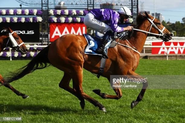 Hugh Bowman riding Fiesta wins race nine the Furphy Sprint during 2020 AAMI Victoria Derby Day at Flemington Racecourse on October 31, 2020 in...