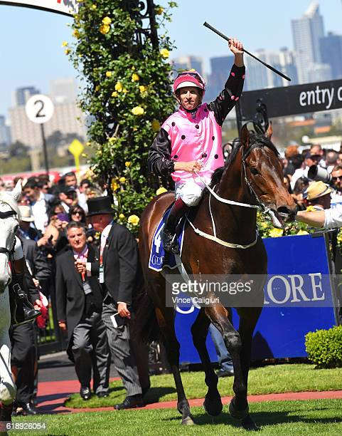 Hugh Bowman riding Flying Artie after winning Race 5 the Coolmore Stud Stakes on Derby Day at Flemington Racecourse on October 29 2016 in Melbourne...