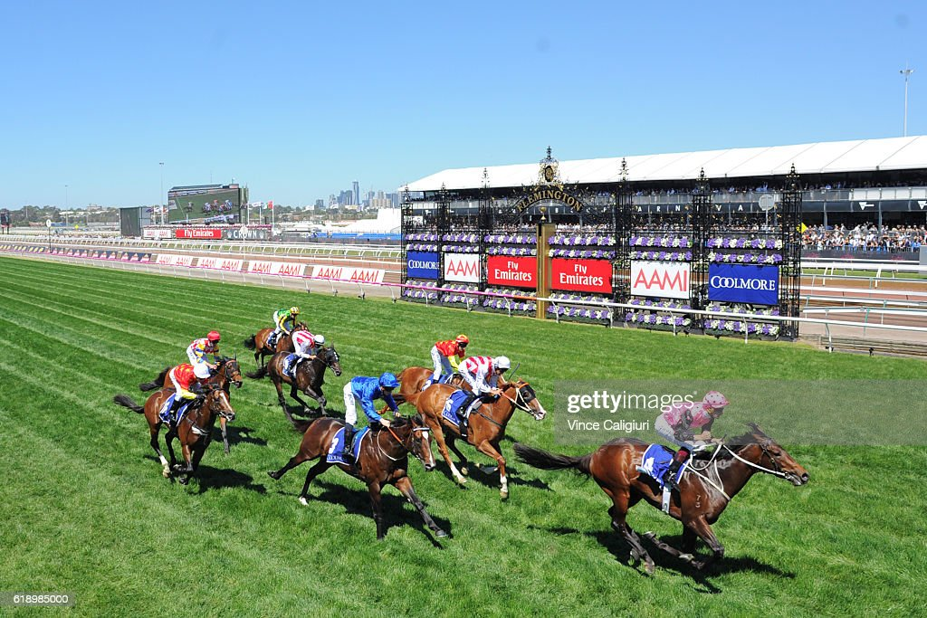 Hugh Bowman riding Flying Artie wins Race 5, the Coolmore Stud Stakes on Derby Day at Flemington Racecourse on October 29, 2016 in Melbourne, Australia.